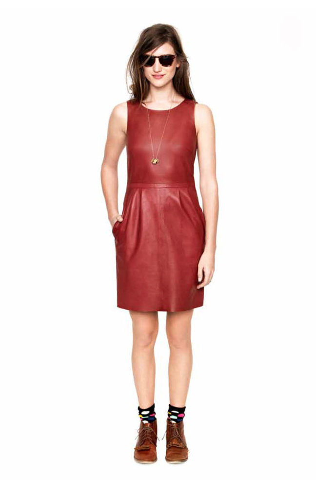 We can think of about a million different ways to wear this LLD (little leather dress) — starting with a chambray button-down and a pair of ankle boots when the chill sets in at night in early Fall.