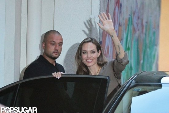 Angelina Jolie waved to fans in Bosnia.