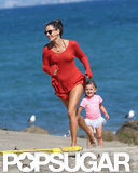 Alessandra Ambrosio and her daughter, Anja, played on the Malibu, CA, sand in July 2012.