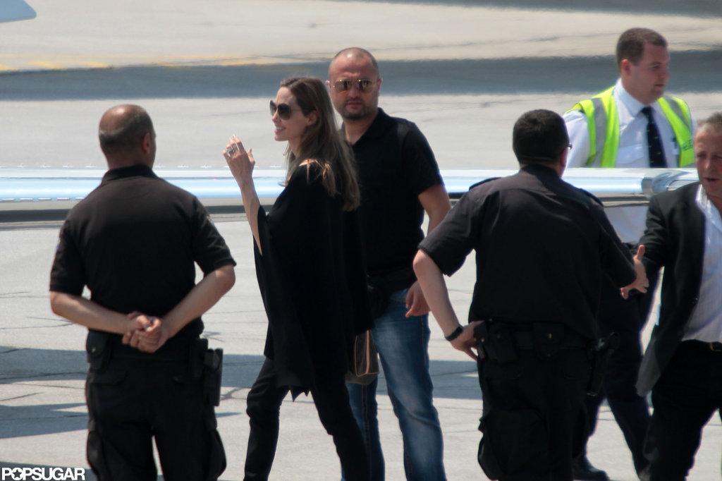 Angelina Jolie boarded a plane in Bosnia.