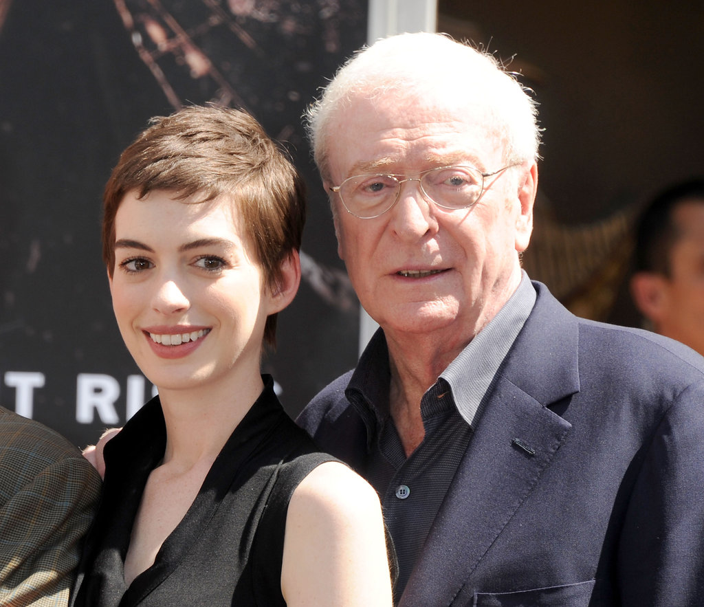 Anne Hathaway got together with Michael Caine in honor of Christopher Nolan's hand and footprint ceremony in LA.