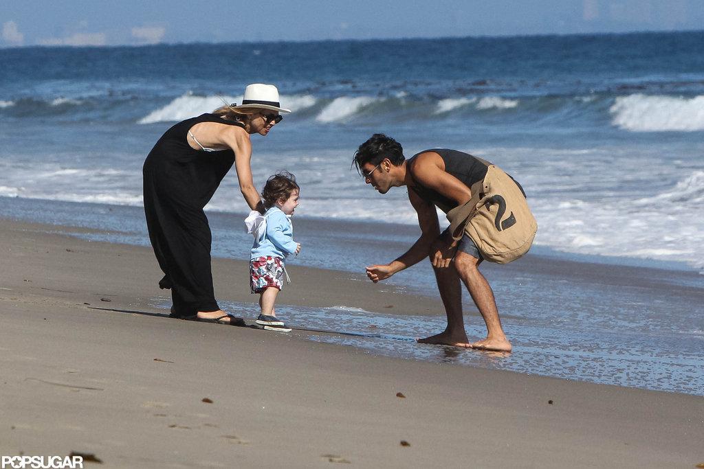 Rachel Zoe and a friend took Skyler to the beach in Malibu, where he showed off his walking skills.