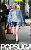 Dakota Fanning walked down the street while on the set of Very Good Girls in NYC.