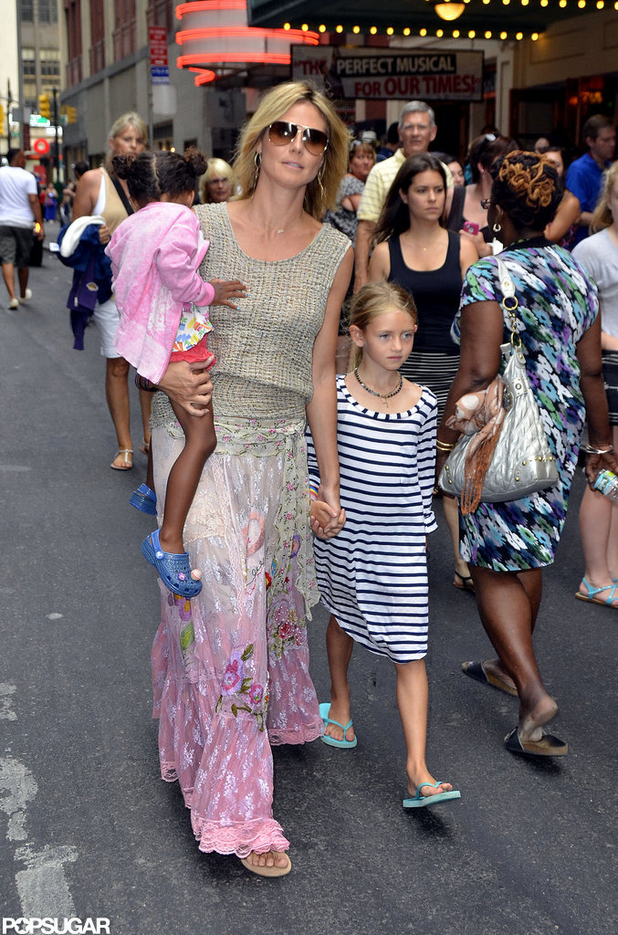 Heidi Klum wore a pink-tinted ensemble while she spent time in NYC with her kids.