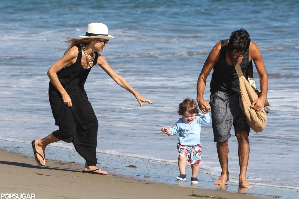 Rachel Zoe held Skyler's hand on the beach in Malibu.