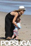 Rachel Zoe helped Skyler during a walk on the beach in Malibu.