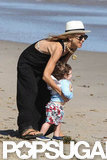 Rachel Zoe hit the sand in Malibu with Skyler during a July 2012 visit.