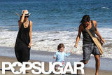 Rachel Zoe and Skyler Berman ran along the beach in Malibu with a friend.