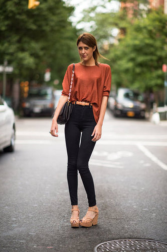 We love how high-waisted denim instantly upgraded this look with a retro feel. Photo courtesy of Adam Katz Sinding
