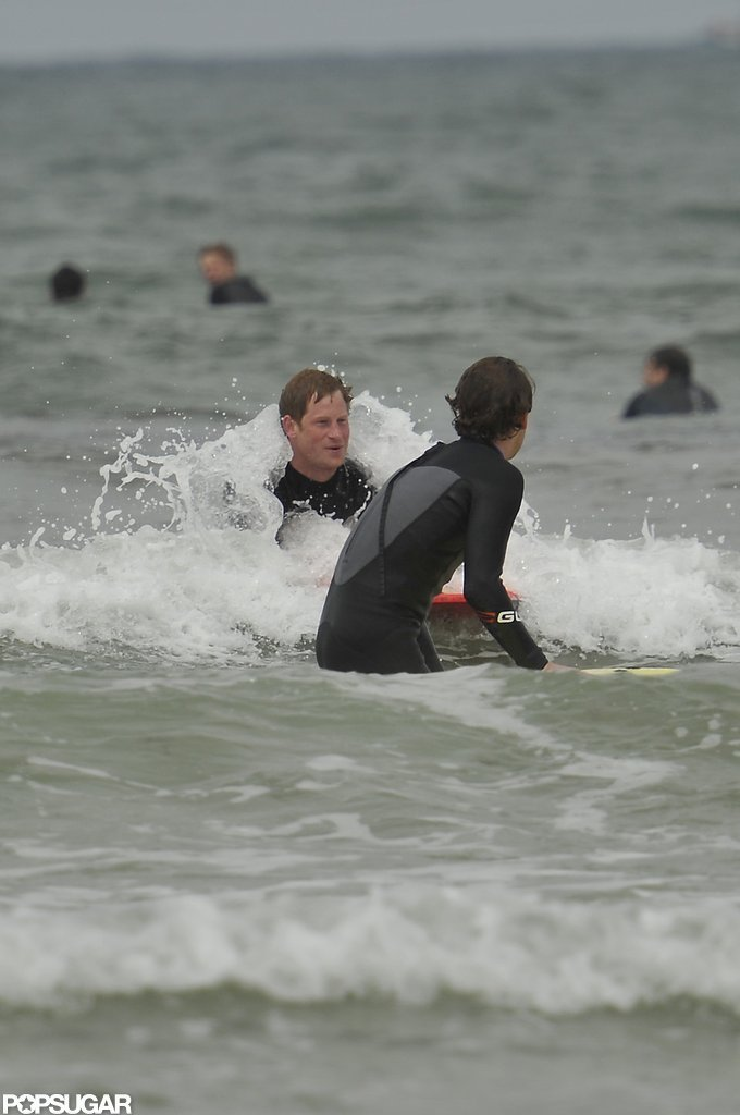 Prince Harry took to the waves in Cornwall.