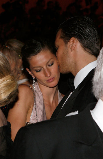 Tom Brady snuck a sweet kiss with Gisele Bündchen while attending the Met Gala in May 2008 in NYC.