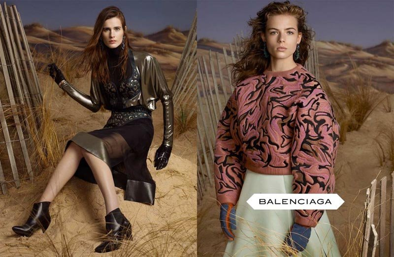 Slick and shiny finishes, oversized sweatshirts, and superstructured tailoring — you'll find it all in Balenciaga's Fall ad campaign.