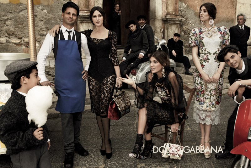 Monica Bellucci, Bianca Balti, and Bianca Brandolini model Dolce & Gabbana's baroque-inspired dresses.