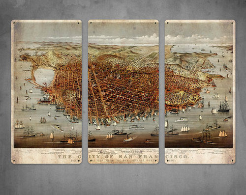 Old Map of San Francisco 1878 on METAL Triptych