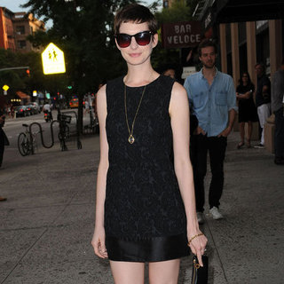 Anne Hathaway Wearing Sleeveless Black Dress