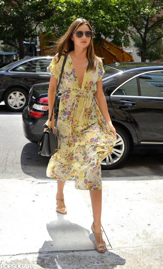 Miranda Kerr wore a floral dress while walking in NYC.