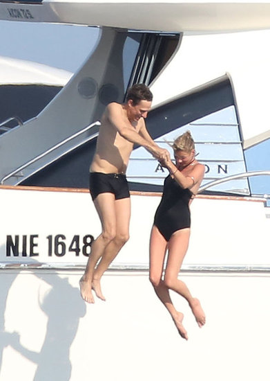 Kate Moss and Jamie Hince took a dive together off a yacht during a vacation in the Mediterranean in July 2012.