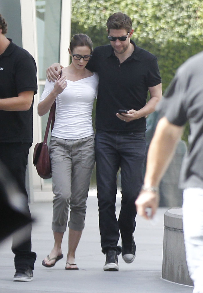 Emily Blunt and John Krasinski walked together after seeing a movie in West Hollywood.