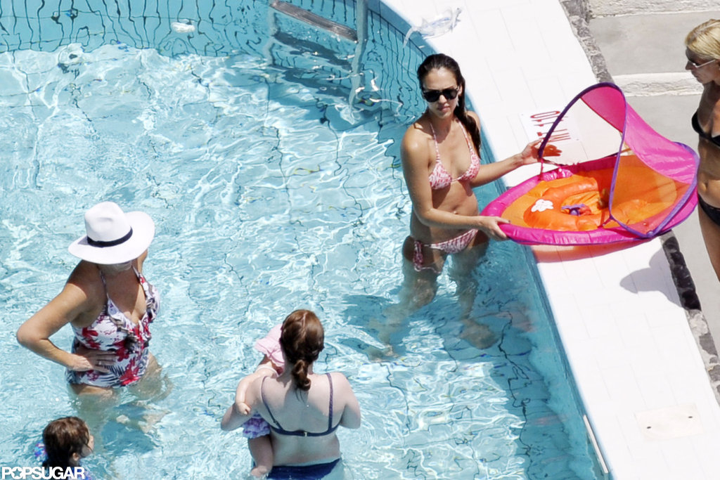 Jessica Alba hit the pool with Haven and Honor.