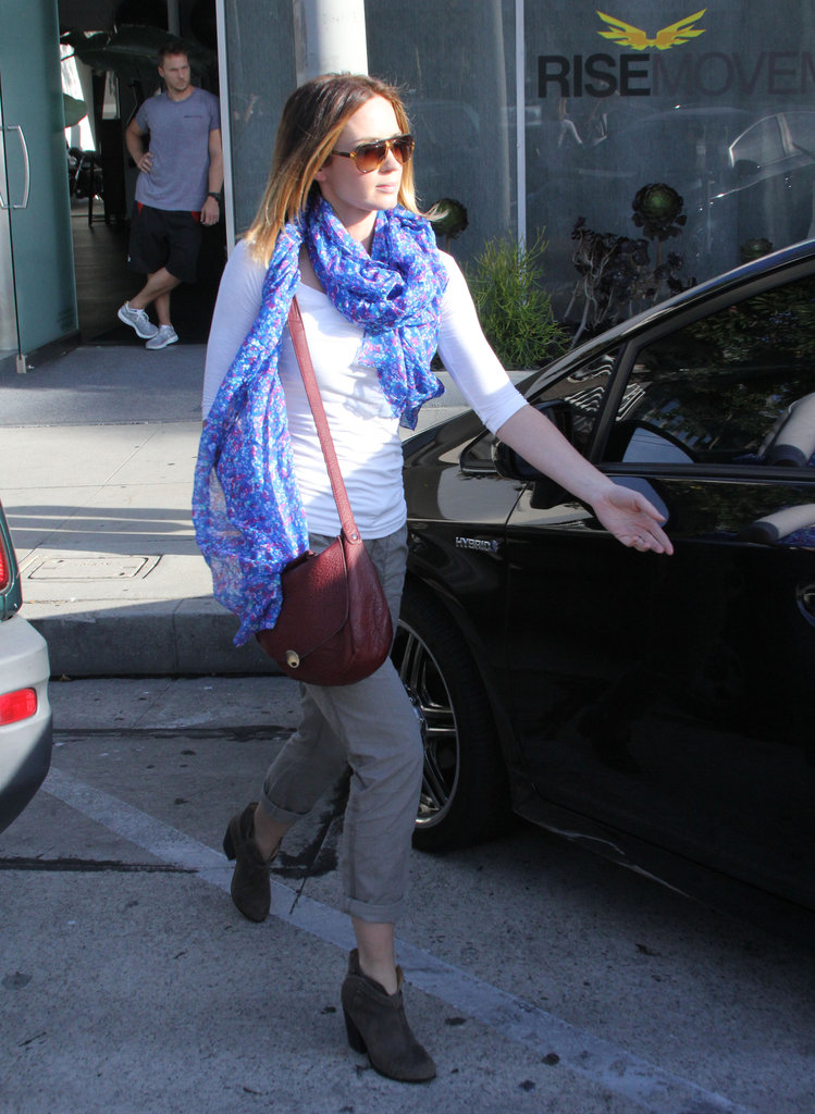 Emily Blunt arrived at her car after a salon appointment in West Hollywood.