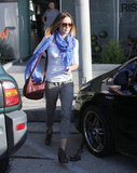 Emily Blunt carried a red handbag with her as she left a salon in West Hollywood.