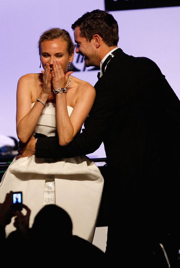 Diane Kruger and Joshua Jackson shared a joke on stage during the AmfAR Cinema Against AIDS show in Cannes during May 2009.