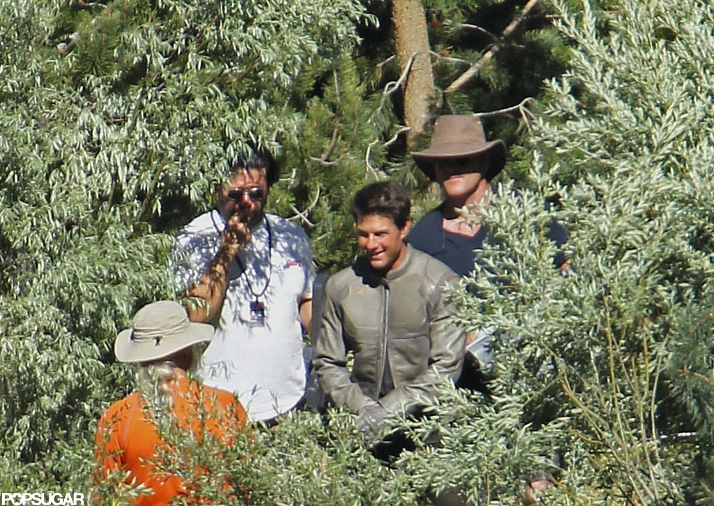Tom Cruise laughed in the forest on the Oblivion set in CA.