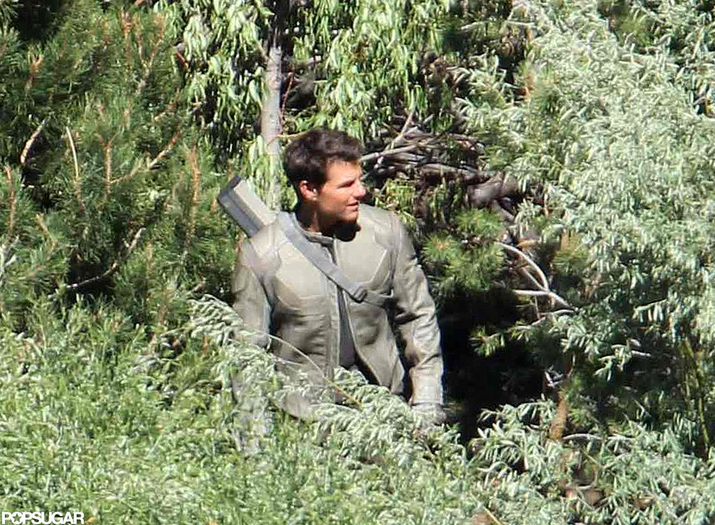Tom Cruise was camouflaged with the trees on the Oblivion set in CA.