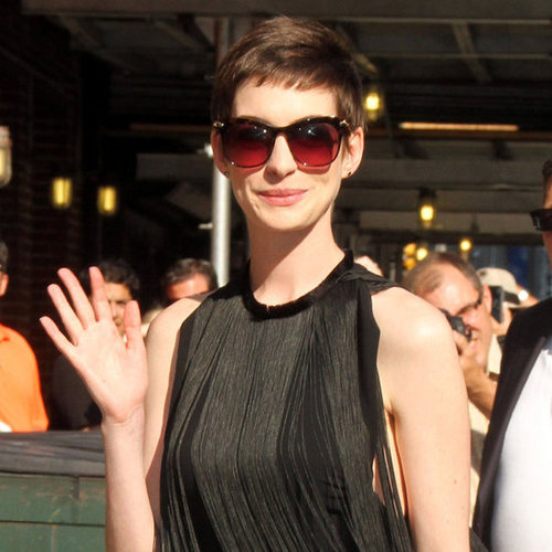 Anne Hathaway in Fringed Dress at David Letterman (Pictures)