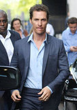 Matthew McConaughey walked to his car after a stop by the ITV Studios.