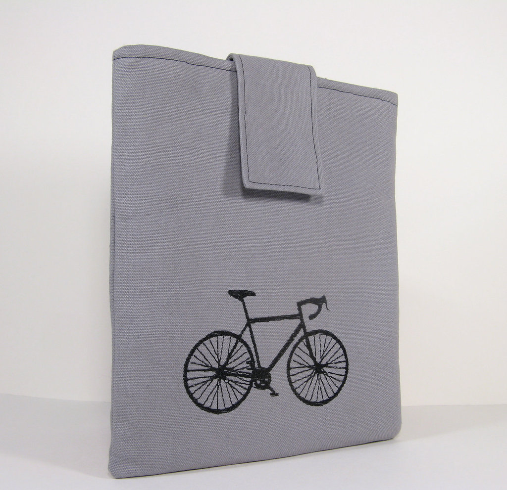 Embroidered Bike Gray Canvas iPad Case ($22)