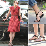 Shop Flat Embellished Chain Thong Sandals Like Keira Knightley