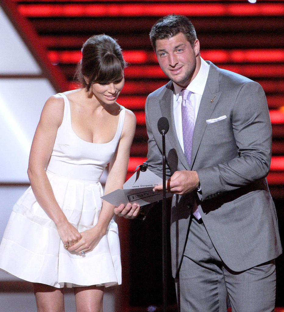 Jessica Biel and Tim Tebow announced the winner of an ESPY award.