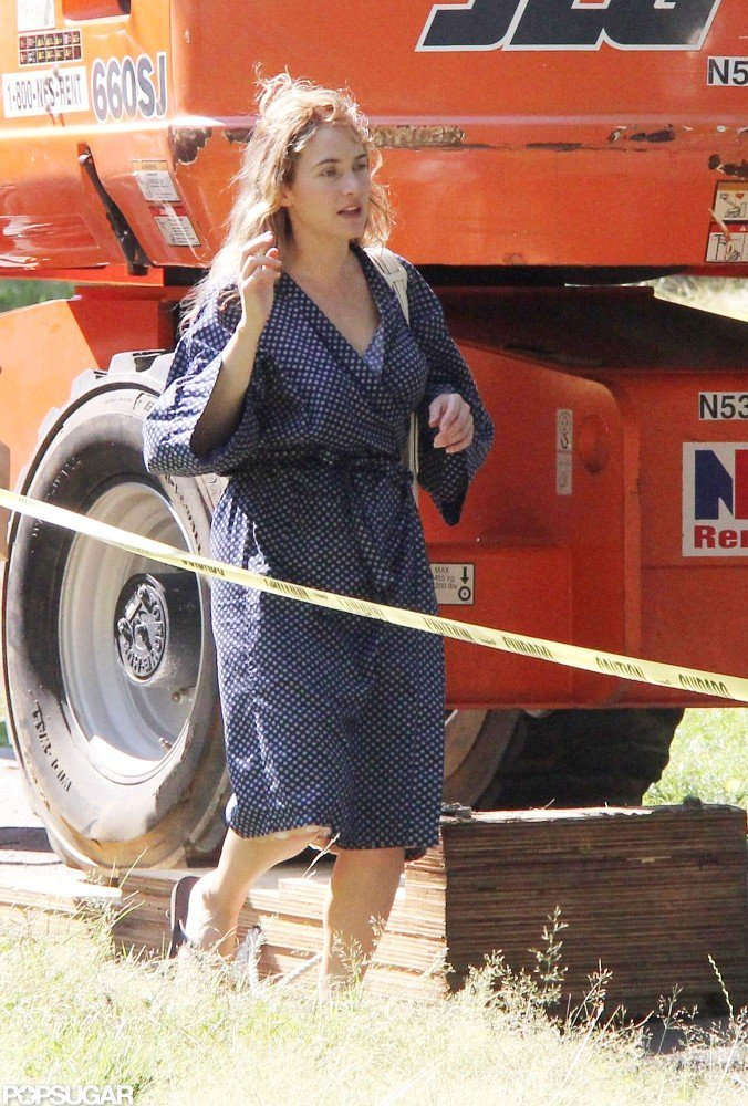 Kate Winslet Gets Wrapped Up in a Robe on Set
