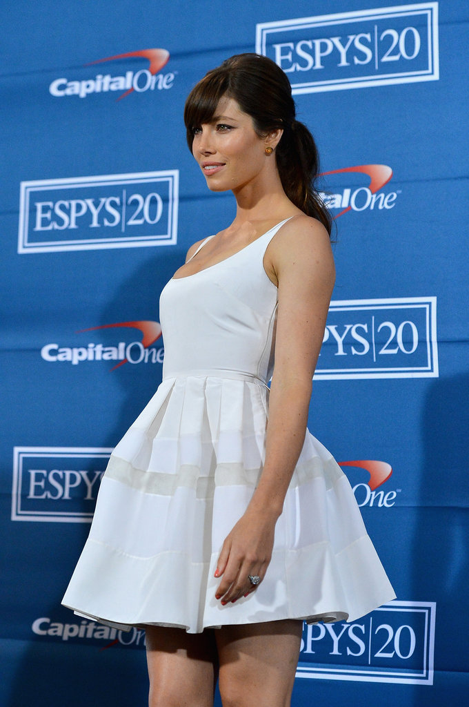 Jessica Biel wore a white Christian Dior dress.