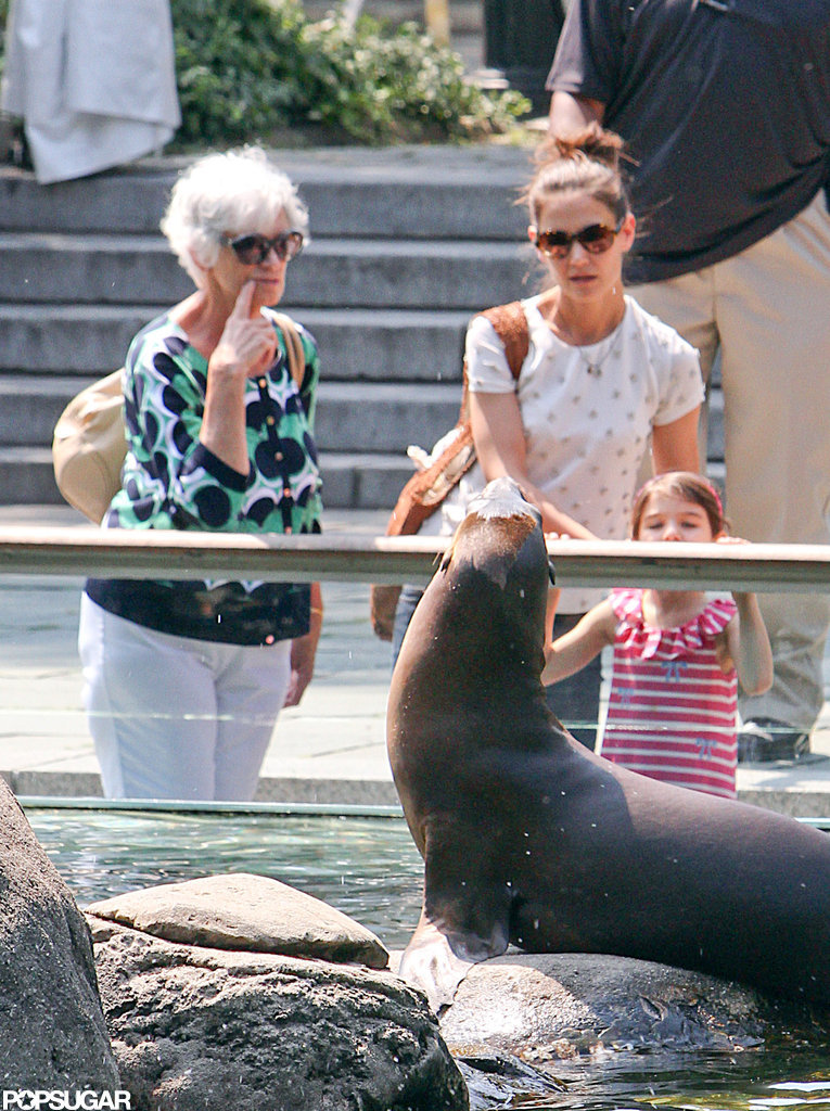 Suri Cruise and Katie Holmes stood infront of the seal tank at the zoo.