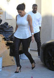 Kim Kardashian and Kanye West both wore black and white.