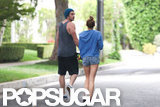 Liam Hemsworth and Miley Cyrus went for a walk around the neighborhood.