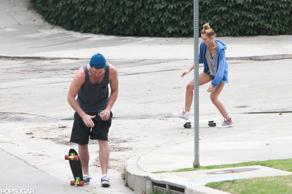 Miley Cyrus followed Liam Hemsworth on her skateboard in LA.