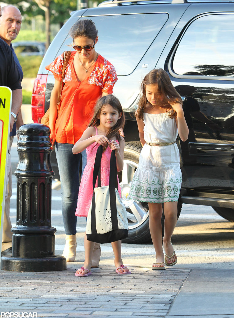 Katie Holmes and Suri Cruise head towards the athletic center at Chelsea Piers.