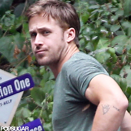 Ryan Gosling showed off his tattoos.