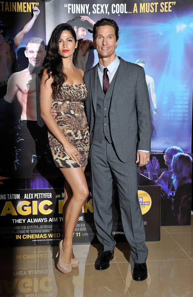 Matthew McConaughey and Camila Alves attended the European premiere of Magic Mike on July 10.