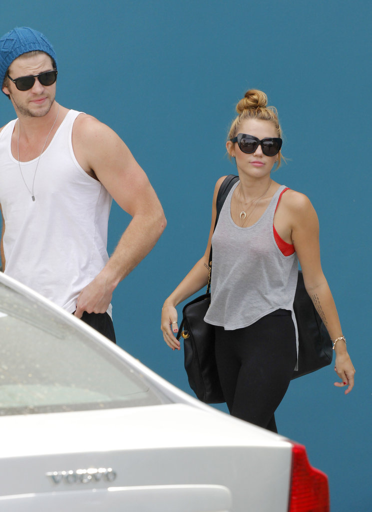 Miley Cyrus and Liam Hemsworth together.