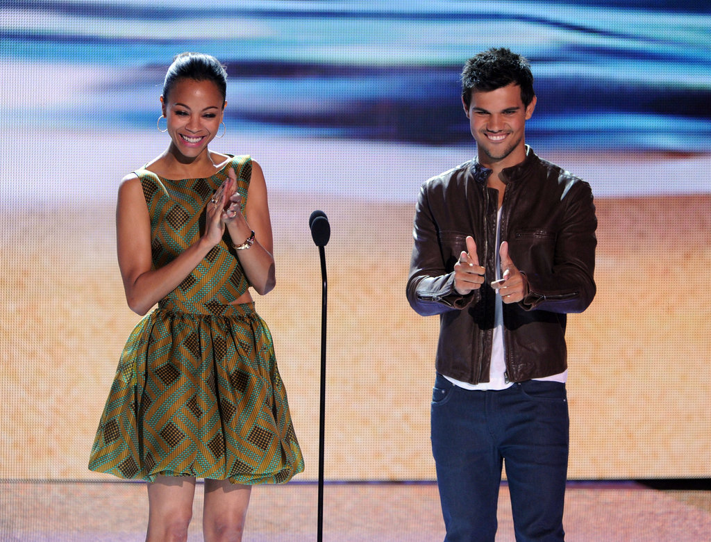 Zoe Saldana and Taylor Lautner