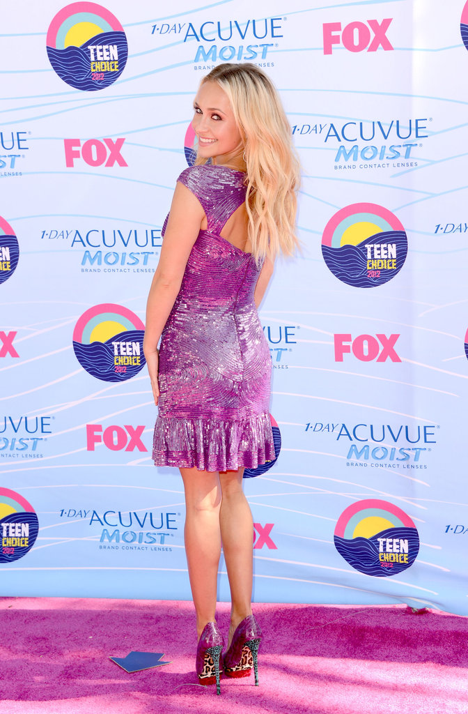 The back view of Hayden Panettiere's purple Zuhair Murad minidress.