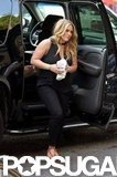 Hilary Duff stepped out of a car in NYC.