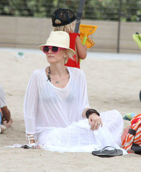 Gwen Stefani wore a bikini under her white tee.