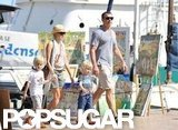 Naomi Watts and Liev Schreiber traveled to Saint-Tropez with Sasha and Samuel in July.