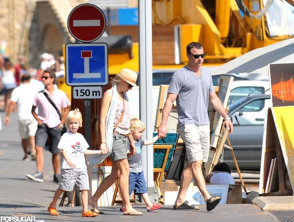 Naomi Watts and Liev Schreiber held hands with Sasha and Samuel in the South of France.
