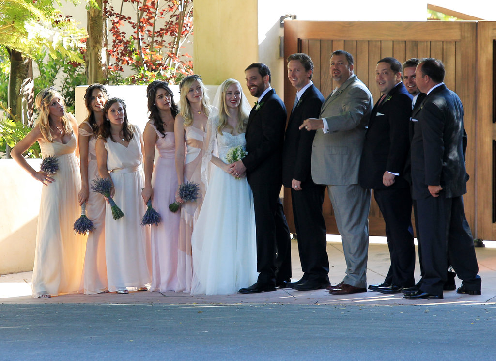 Kirsten Dunst posed for pictures with the wedding party.